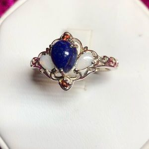 Cute Lapis and Opal Sterling Silver Ring